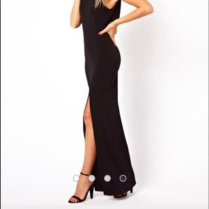 Black maxi dress with cowl back
